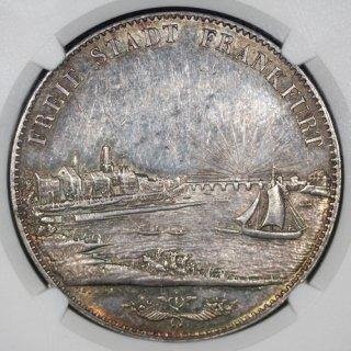 ドイツ Germany フランクフルト Frankfurt 都市景観 2ターラー銀貨 1841年 NGC AU58