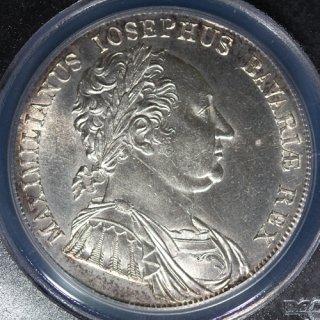 ドイツ Germany バイエルン王マクシミリアン1世 憲法制定記念 ターラー銀貨 1818年 PCGS UNC DETAILS