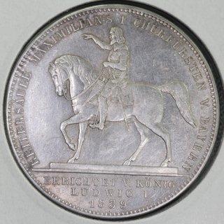 ドイツ Germany ババリア マクシミリアン1世像 ルートヴィヒ1世 2ターラー銀貨 1839年
