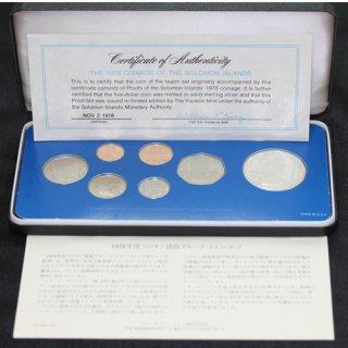 イギリス領 ソロモン諸島 Solomon Islands エリザベス2世 プルーフコインセット 7種 1978年 大型銀貨1枚含