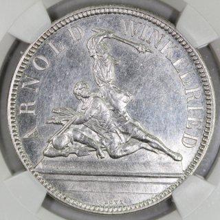 スイス Switzerland 射撃祭 ニトヴァルデン Nidwalden 5フラン銀貨 1861年 NGC MS61