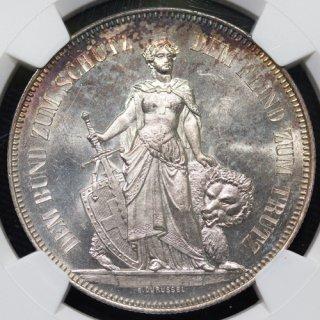 スイス Switzerland 射撃祭 ベルン Bern 5フラン銀貨 1885年 NGC MS64
