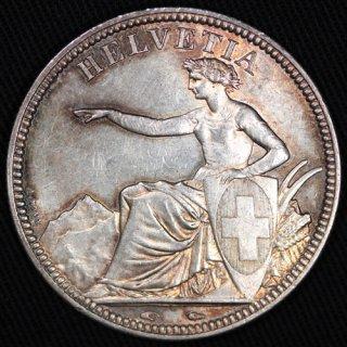 スイス Switzerland ヘルベチア座像 5フラン銀貨 1851年A