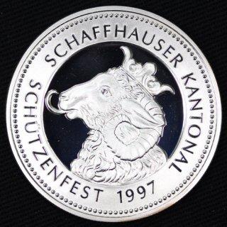 スイス Switzerland 現代射撃祭 シャフハウゼン 50フラン銀貨 プルーフ 1997年