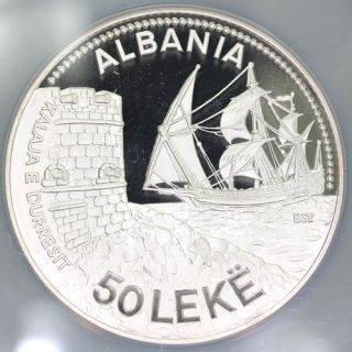 アルバニア Albania ドゥラス港 DURAZZO SEAPORT 50レク銀貨 1987年 NGC PF69 ULTRA CAMEO