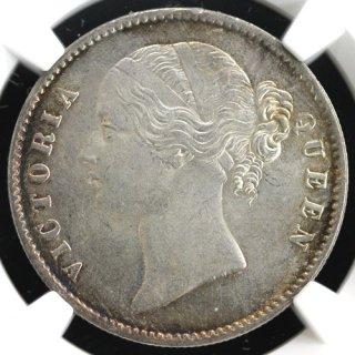 インド India 東インド会社 ビクトリア ルピー銀貨 Rupee 1840年B&C NGC MS63