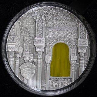 パラオ ティファニーアート Tiffany Art アルハンブラ宮殿 10ドル銀貨 2015年