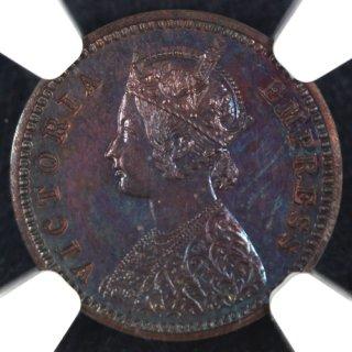 イギリス領インド India-British 1/12アンナ銅貨 1892年 Restrike NGC PF62BN