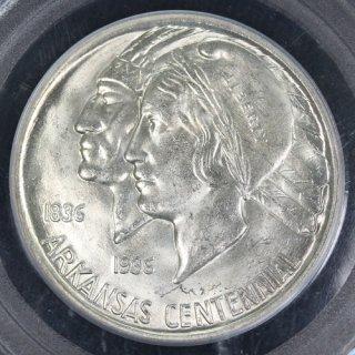 アメリカ United States アーカンソー州成立100周年記念 50セント銀貨 1936年 PCGS MS63