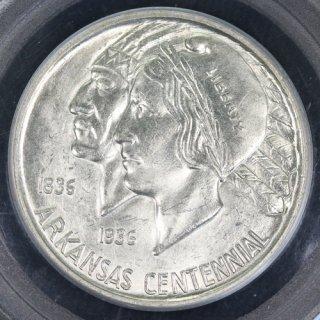 アメリカ United States of America アーカンソー州成立100周年記念 50セント銀貨 1936年S PCGS MS63