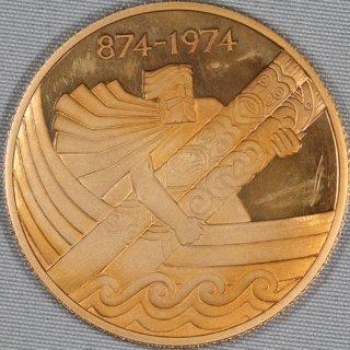 アイスランド Iceland 入植1100周年記念 10000クローナ金貨 プルーフ 1974年