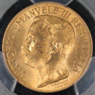 イタリア Italy ヴィットーリオ・エマヌエーレ3世 Vittorio Emanuele III 50周年記念 50リラ金貨 1911年 PCGS MS63