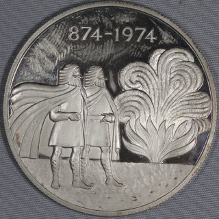 アイスランド Iceland 入植1100年記念 1000クローナ銀貨 プルーフ 1974年