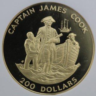 イギリス領 クック諸島 【ジェームズ・クック ハワイ発見記念】200ドル金貨 1978年 NGC PF68 ULTRA CAMEO