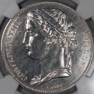 スイス Switzerland ESSAI 試作貨 5フラン銀貨 1855年 NGC UNC DETAILS