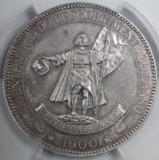 ブラジル Brazil ブラジル発見400年記念 4000レイス 大型銀貨 1900年 NGC MS63