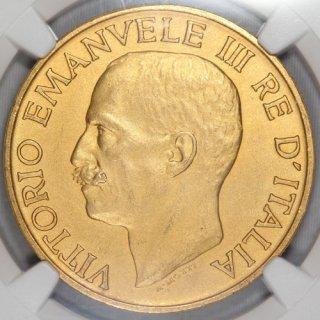 イタリア Italy ヴィットーリオ・エマヌエーレ3世 Vittorio Emanuele III ファシスト政権1周年記念 100リラ金貨 1923年 NGC MS63+ MATTE