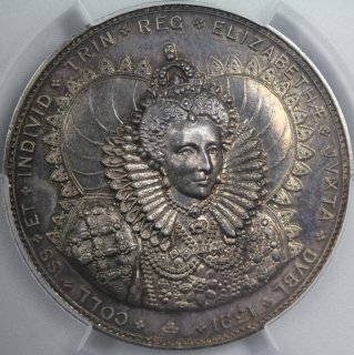 イギリス Great Britain トリニティカレッジ ダブリン エリザベス1世 数学 試作 銀メダル 1920年 PCGS SP64