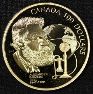 カナダ Canada アレクサンダー・グラハム・ベル エリザベス2世 100ドル金貨 プルーフ 1997年