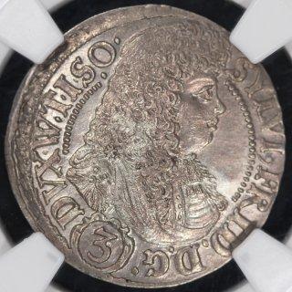 ドイツ Germany ヴュルテンベルク エールス ジルフィウス2世フリードリヒ 3クロイツァー銀貨 1676年 NGC MS66