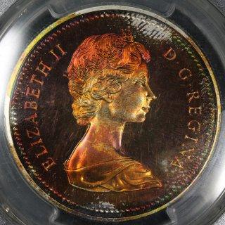 カナダ Canada エリザベス2世 ブリティッシュコロンビア カナダ自治政府加入100年 1ドル銀貨 1971年 PCGS SP68