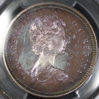 カナダ Canada エリザベス2世 ブリティッシュコロンビア カナダ自治政府加入100年 1ドル銀貨 1971年 PCGS SP68+