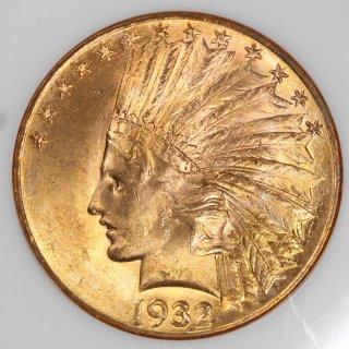 アメリカ United States of America インディアンヘッド 10ドル金貨 1932年 NGC MS63