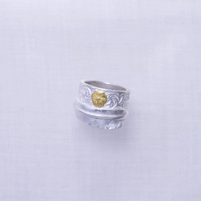 Feather Ring 1 with Gold Point M