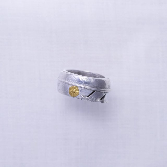 Feather Ring 4 with Gold Point S