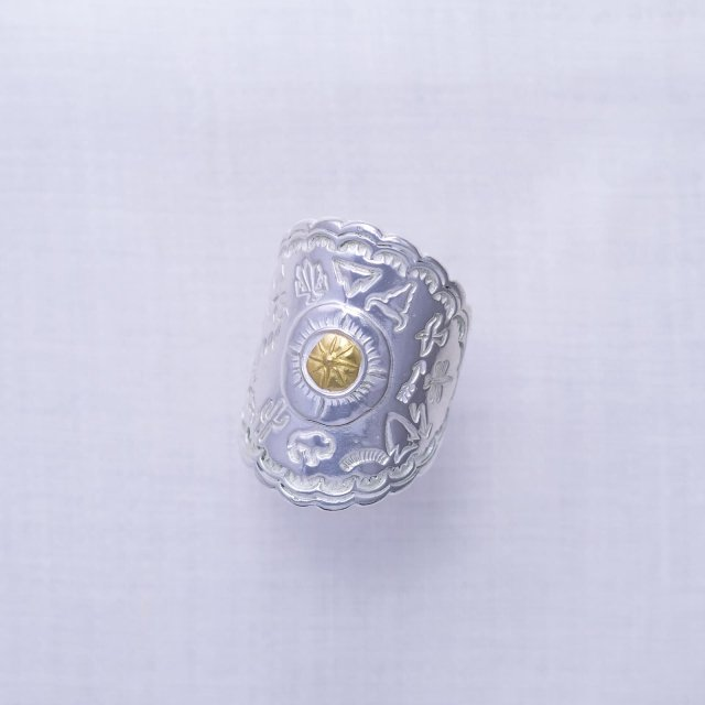 Native Stamp Ring with Gold Point S
