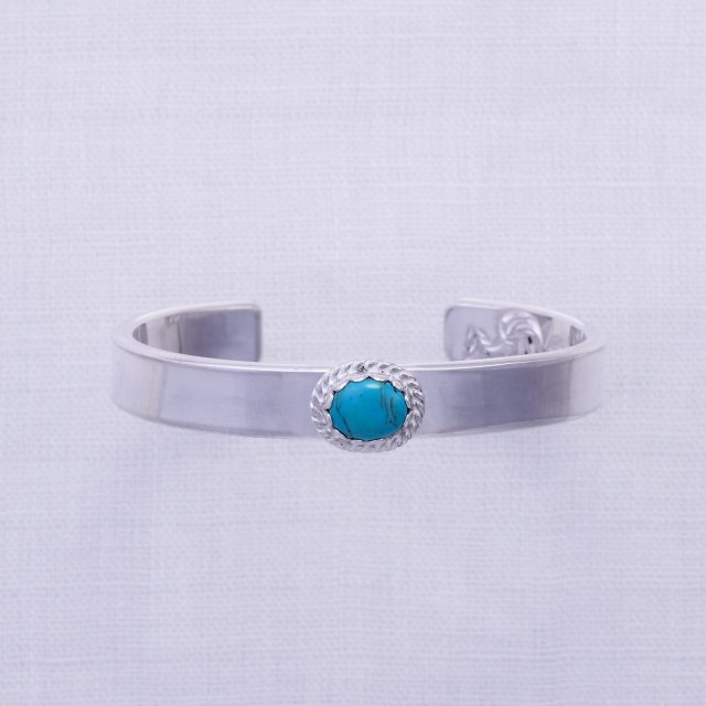 Plain Bangle 10mm width with Turquoise