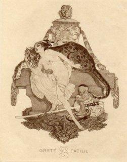 フランツ・フォン・バイロス蔵書票 Grete Cäcilie P.S.(Pauker)
