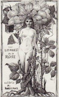林 由紀子 銅版画蔵書票「薔薇連祷�」