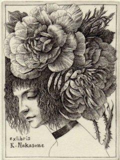 林 由紀子 銅版画蔵書票「薔薇苑の客」