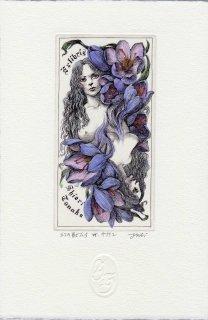 林 由紀子 銅版画蔵書票「幻の獣たち� サフラン」手彩色