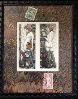 林 由紀子 作家オリジナル額装 銅版画蔵書票「勤勉な司書、きまぐれな司書」」