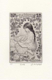 長野 順子 銅版画蔵書票「花の頃」
