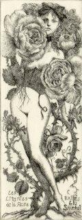 林 由紀子 銅版画蔵書票「薔薇連祷 2018」