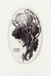 林 由紀子 銅版画(モノクロ)蔵書票「イリス」 サイン入り