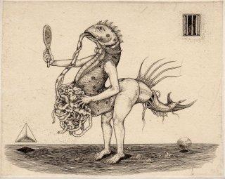 多賀 新 銅版画作品 魚シリーズ No.22「鏡を持って」サイン入り