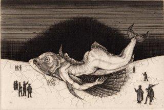 多賀 新 銅版画作品 魚シリーズ No.4「座礁」サイン入り