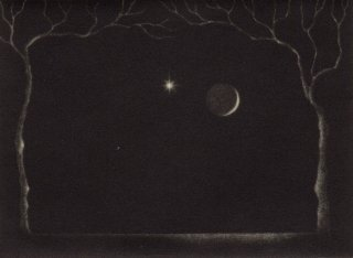 小池結衣 銅版画 『寒い月』サイン入