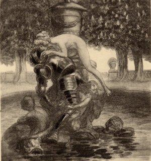 フランツ・フォン・バイロス挿絵作品「甲冑と女性」