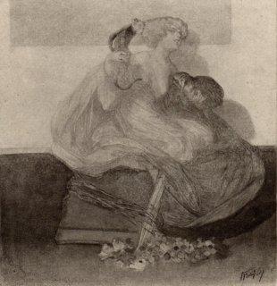 フランツ・フォン・バイロス挿絵作品「女性とフクロウ」