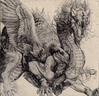 西村 沙由里 銅版画「狛鬼」サイン入り