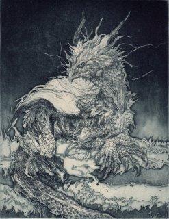 西村 沙由里 銅版画「夜番」サイン入り