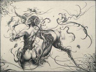 謝敷ゆうり 銅版画「一角獣」サイン入り