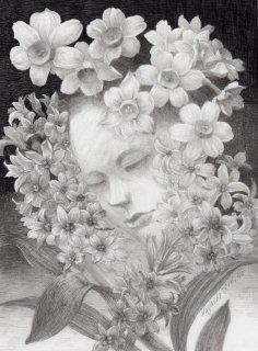 林 由紀子 鉛筆画「闇と香り」額装品 サイン入り