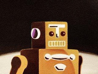 豊田 泰弘 油彩画「ロボット」