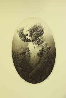坂東壯一 銅版画『フローラ』サイン入り
